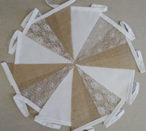 BUNTING - Hessian, Plain White & Lace - 10m/32ft